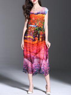 Printed Slit Silk-blend Midi Dress