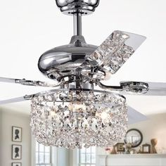 Shop for Silver Orchid Campbell Chrome Lighted Ceiling Fan (remote controlled). Get free delivery at Overstock - Your Online Ceiling Fans & Accessories Store! Get in rewards with Club O! Ceiling Fan Chandelier, Silver Chandelier, Ceiling Lights, Ceiling Fans, Bedroom Ceiling Fan Light, Crystal Lamps, Bedroom Chandeliers, Ceiling Tiles, Ceiling Pendant