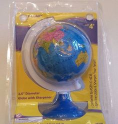 "World Globe Pencil Sharpener 3 1/2"" Diameter Globe with Pencil Sharpener New 