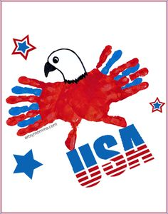 Festive Patriotic Eagle – Handprint Craft for Kids - - Make a patriotic eagle handprint crafts kids can make as a fun of July activity by themselves or with the help of an adult! Daycare Crafts, Toddler Crafts, Preschool Crafts, Kid Crafts, Toddler Art, Baby Crafts, Preschool Ideas, Newborn Crafts, Infant Crafts