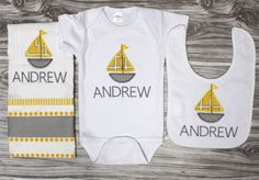 Little sailor 3 piece set includes personalized onepiece bodysuit, burp cloth and bib sailboat gray and yellow baby shower new baby gift