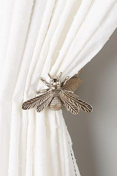Queen Bee Curtain Tiebacks from Anthropologie. I love Bee's and these are gorgeous! They would look fabulous at my front door. #affiliatelink