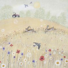 Landscapes & Wildlife Portfolio | Lucy Grossmith | Heart To Art Pond Painting, Painting & Drawing, Blue Abstract, Abstract Canvas, Hare Illustration, Rabbit Art, Naive Art, Outdoor Art, Whimsical Art