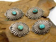 LOT 4 OLD HANDMADE FLUTED NAVAJO INDIAN STERLING SILVER TURQUOISE CONCHO BUTTONS