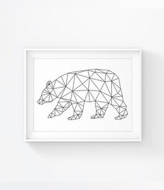 Bear Print Digital Origami Bear Wall Art Geometric by PixiePosters