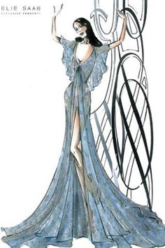 Elie Saab haute couture fashion illustration <3