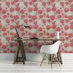 Papier peint - Osborne & Little - Japonerie - Rose Chair, Furniture, Home Decor, Home Decoration, Flowers, Wall Papers, Decoration Home, Room Decor, Home Furnishings