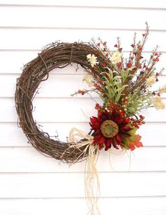 autumn harvest grapevine wreath. Simple looking.