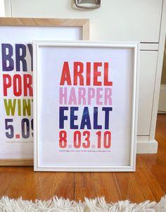 Name print nursery art in bold modern by AlmostSundayInc on Etsy, $35.00