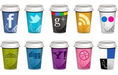 """Freebie: Set of Social Icons """"Takeout Coffee Cups"""" For your teaching blog! Woot! Woot!"""
