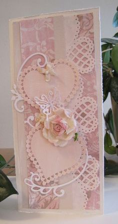 """handmade Valentine card ... monochromatic pink ... tall and narrow: 4"""" X 9"""" (fits business or #10) envelope perfectly ... like the design possibilities for this format ... die cuts and patterned paper ... declightful!!"""