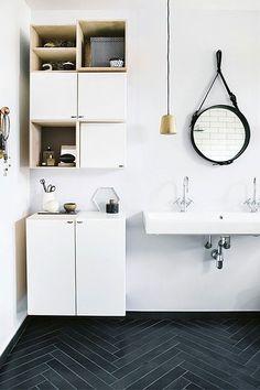 Modern Black Herringbone Floor In An All White Bathroom With A Hoop Mirror Part 80