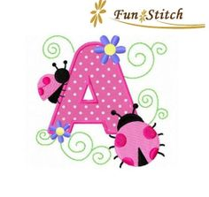 ladybug applique font letters machine embroidery designs 5 inches