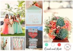 Coral and Mint Inspiration Boards, Simple Weddings, Wedding Bells, Photo Booth, Coral, Gift Wrapping, Mint, Place Card Holders, Table Decorations