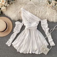 Elegant Empire Waist Off Shoulder Dress on Luulla Stage Outfits, Teen Fashion Outfits, Fashion Dresses, Cheap Dresses, Short Dresses, Spring Dresses, Mode Ootd, Off Shoulder Fashion, Looks Vintage