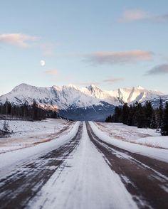 moon rising. nordegg road. white goat wilderness. alberta