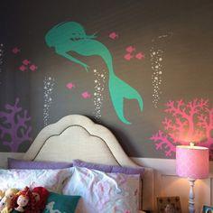 Mermaid Wall Decal Aquarium Bubbles Decal by GetCreativeStudios