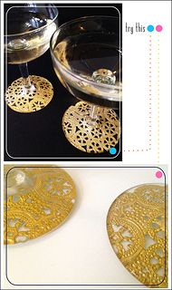 01 Gilded Lace Champagne Glasses | by fabricpaperglue