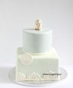 Marsispossu: Mintunvihreää ja vaaleansinistä ristiäiskakussa, Christening cake with pastel colors