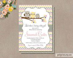 Owl Baby Shower Invitations - DIY Printable Baby Girl Shower Invitations…