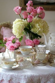 tea time table setting with roses and hydrangea- A Little Loveliness: A Little Kindness