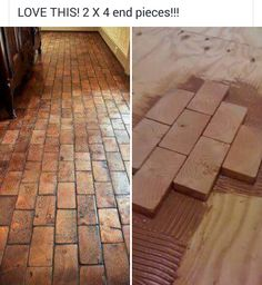Mud room flooring faux brick floor with wood blocks! Wooden blocks for fake brick flooring awesome diy idea My Dream Home, Home Projects, Home Remodeling, Diy Home Decor, Home Improvement, Sweet Home, New Homes, Cabin, Brick Flooring