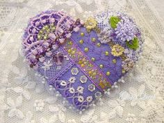 Crazy Quilt Pin by GlosterQueen on Etsy