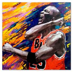 "Michael Jordan, Original oil portrait painting on canvas  27.5"" x 27.5""  Contemporary, Ready to hang."