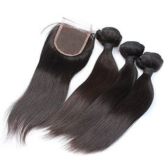 """Moresoo 3 Bundles 16,18,20Inches Straight Hair Extensions Menschenhaareinschlagf?den und 1 12"""" Lace Closure for 3.5""""*4"""" #1B Natural Black gerade Spitze Schlie?ung Moresoo http://www.amazon.de/dp/B00UV4AU4G/ref=cm_sw_r_pi_dp_TPgovb00HDQ0D   Are you Germany? So good and cheap hair,waht are you waiting for?"""