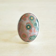 Pink & Green Dream Ocean Jasper Ring