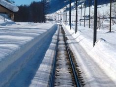 Rail track from rear of the Glacier Express, Switzerland  Yay, snow!