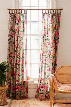 Poppy Window Curtain in Pink | Urban Outfitters #floral #sheercurtains #affiliate