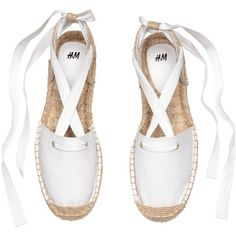 Espadrilles with Lacing $29.99 (€26) ❤ liked on Polyvore featuring shoes, sandals, zapatos, flats, espadrille sandals, white lace up sandals, white espadrilles, white sandals and ankle strap sandals