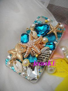 bling iphone 5 case custom iphone 4s case blue gem gold by JesusKE, $35.00 LOVE