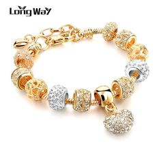 New Gold Color Heart Bracelets For Women DIY Charm Bracelets Bangles Luxury Famous  Jewelry SBR160056 $7.11   => Save up to 60% and Free Shipping => Order Now! #fashion #woman #shop #diy  http://www.jewelrycreations.net/product/longway-2016-new-gold-color-heart-bracelets-for-women-diy-charm-bracelets-bangles-luxury-famous-brand-jewelry-sbr160056/