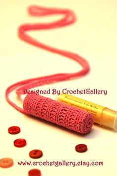 Crocheted Necklace Lipbalm Lipstick Holder by crochetgallery