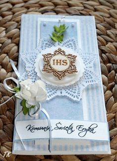 Kartka komunijna błękitna  dla chlopca :) First Communion Cards, Wedding Goals, Handmade Decorations, Vintage Cards, Christening, Holi, Christmas Cards, Decorative Boxes, Card Making