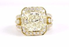 Fine Radiant Cut Yellow Diamond Ring w/Diamond Accents 14k Yellow Gold 6.88Ct #LAJ #SolitairewithAccents