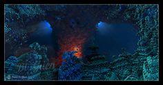 """#fractal #art #deco #sea #ocean Au fond d'une grotte profonde, le trésor du corail rouge…En 40×80 ou 60×120, essayez notre nouvelle finition """"plexi"""" : plus de détails et un..."""