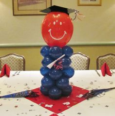 Party People Celebration Company - Special Event Decor Custom Balloon decor and Fabric Designs Graduation Table Decorations, Graduation Party Planning, College Graduation Parties, Graduation Theme, Graduation Balloons, Graduation Celebration, School Decorations, Grad Parties, Graduation Ideas