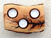 Portavelas en madera de Encina