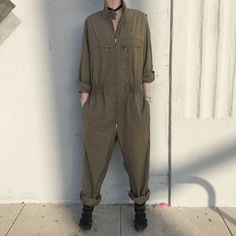 Vintage army navy flight suit workwear coveralls onepiece jumpsuit size large