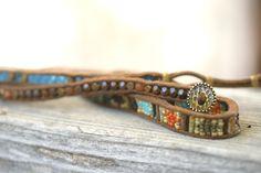 Wrap Bracelet in blue and brown. by FlowSilverJewelry on Etsy