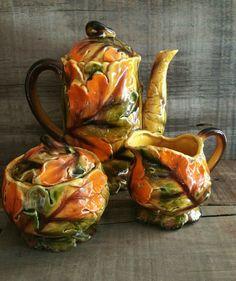 Vintage Majolica Coffee/Tea Pot with Cream and by EmptyNestVintage