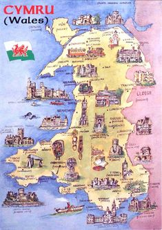 Wales Nice map Postcard of Cymru (Wales) showing Welsh castles, cathedrals and landmarks. Thanks to Phillippa of Wales. Wales has about 400 castles ~ there are more castles per head than any other country in the world ~ England Ireland, England And Scotland, England Map, London Eye, Map Of Great Britain, Britain Map, Welsh Castles, Castles In Wales, United Kingdom Map