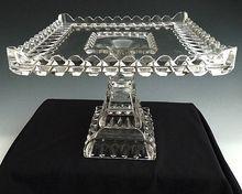 EAPG square cake stand Crystal Wedding Anniversary Adams & Co. - http://www.rubylane.com/item/463593-RL-2065/EAPG-square-cake-stand-Crystal