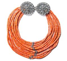 Ukrainian folk coral necklace with silver elements.