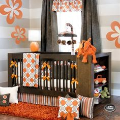 neutral gray baby nursery ideas | Baby Boy Girl Neutral Orange Grey Modern Crib Nursery Newborn Best ...