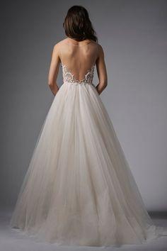 WTOO Naomi/15761 - Plus Size Bridal - Dreamy ballgown - Ballerina-inspired - Illusion tulle - plunging neckline - Swarovski Crystal front bodice - Full soft net skirt - Sweep train - Dallas Brides - design District