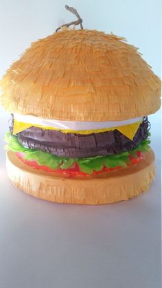 Delicious Burger Pinata Inspired By In-N-Outs Amazing Cheeseburgers 10th Birthday Parties, Birthday Party Themes, Birthday Bash, Hamburger Party, Chef Party, Fun Party Games, Pinata Party, Delicious Burgers, Bobs Burgers